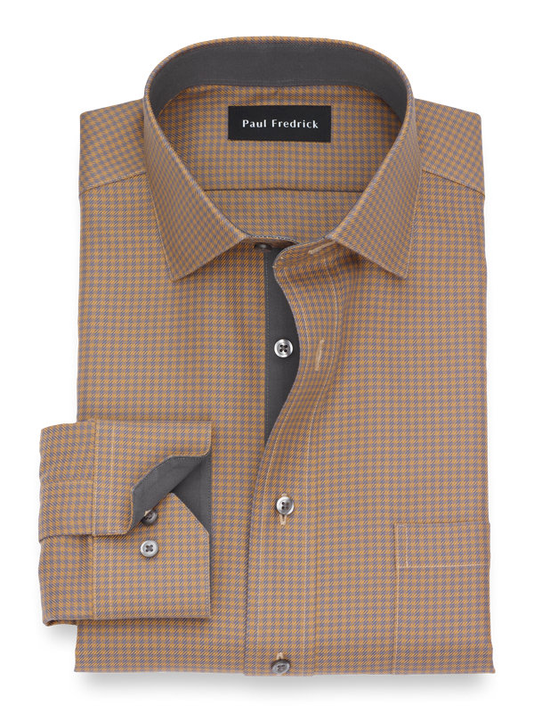 Tailored Fit Non-Iron Cotton Houndstooth Dress Shirt with Contrast Trim
