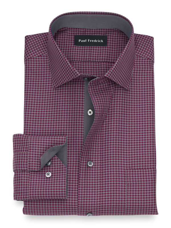 Non-Iron Cotton Houndstooth Dress Shirt with Contrast Trim