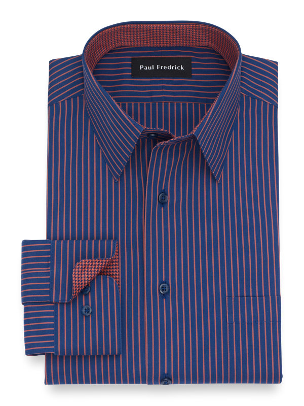 Slim Fit Non-Iron Cotton Stripe Dress Shirt with Contrast Trim