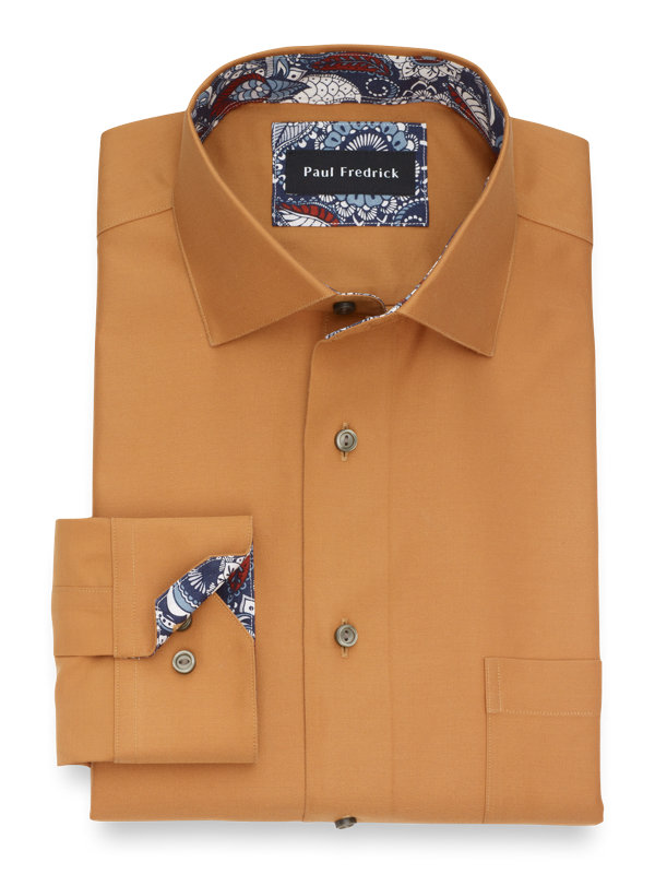 Slim Fit Non-Iron Supima Cotton Solid Dress Shirt with Contrast Trim
