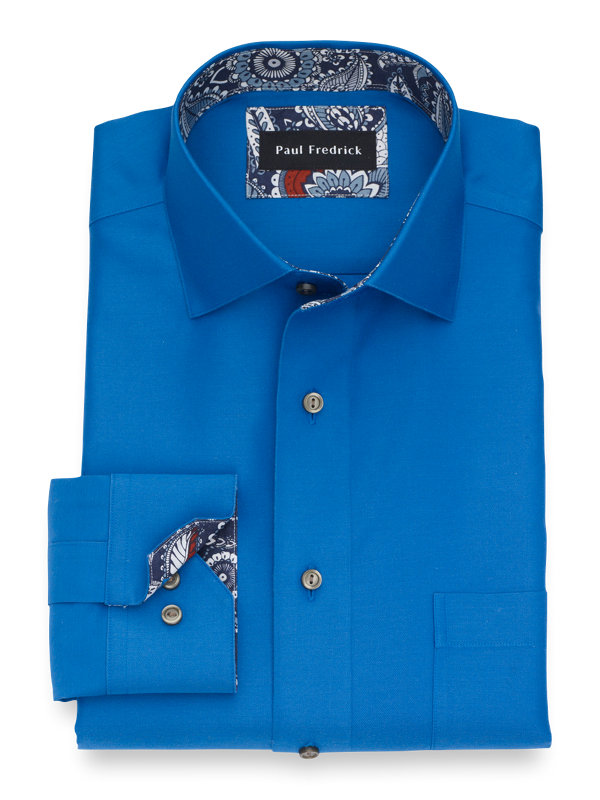 Tailored Fit Non-Iron Supima Cotton Solid Dress Shirt with Contrast Trim