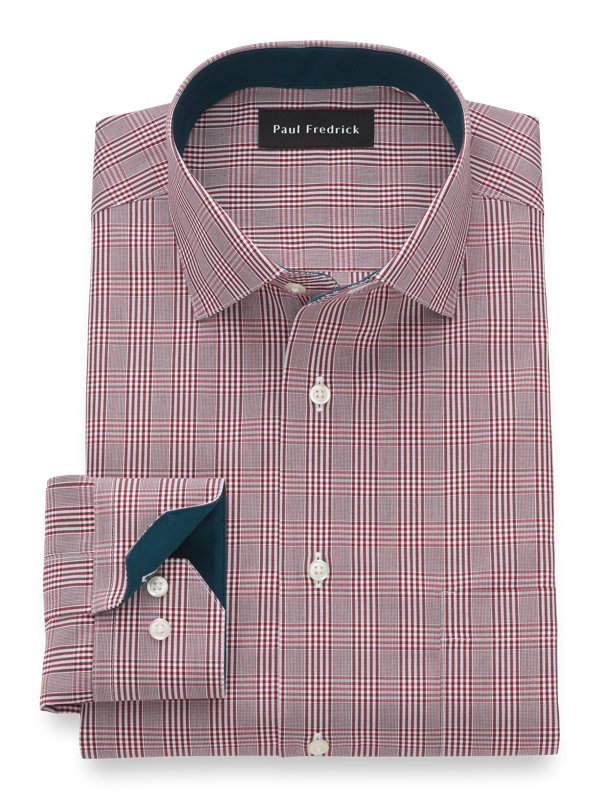Tailored Fit Non-Iron Cotton Glen Plaid Dress Shirt with Contrast Trim