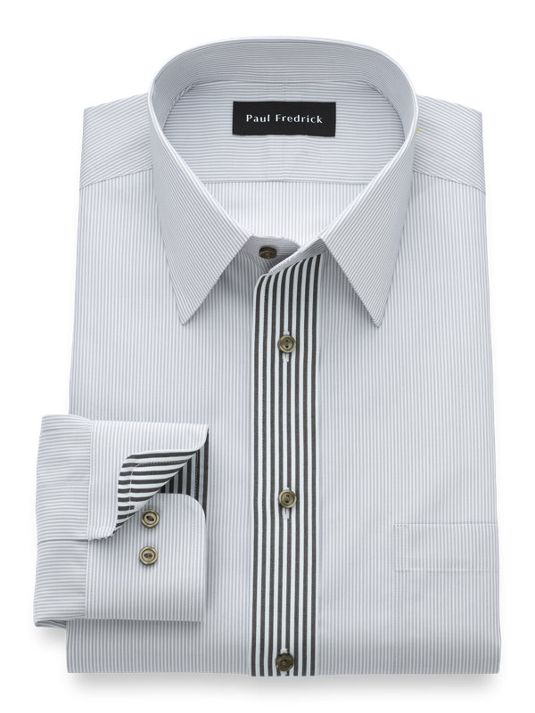 Non-Iron Supima Cotton Stripe Dress Shirt with Contrast Trim