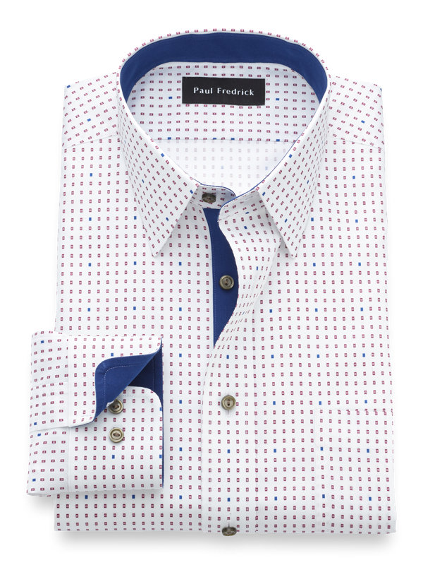 Tailored Fit Non-Iron Supima Cotton Dot Dress Shirt with Contrast Trim