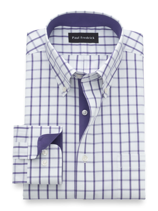 Slim Fit Non-Iron Cotton Windowpane Dress Shirt with Contrast Trim