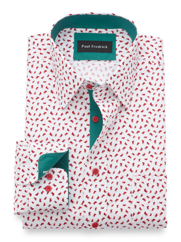 Non-Iron Cotton Stocking Print Dress Shirt with Contrast Trim
