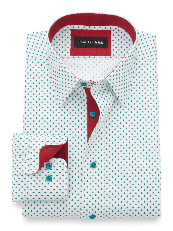Non-Iron Cotton Christmas Tree Print Dress Shirt with Contrast Trim
