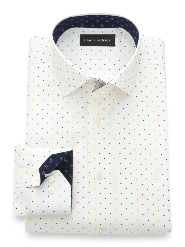 Tailored Fit Luxury Cotton and Merino Wool Dot Dress Shirt with Contrast Trim