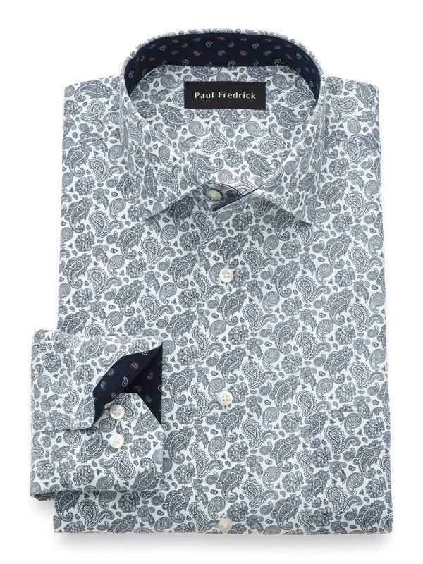 Slim Fit Luxury Cotton and Merino Wool Paisley Dress Shirt with Contrast Trim