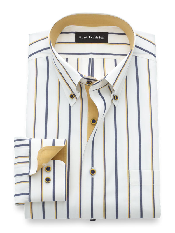 Tailored Fit Luxury Cotton and Merino Wool Stripe Dress Shirt with Contrast Trim