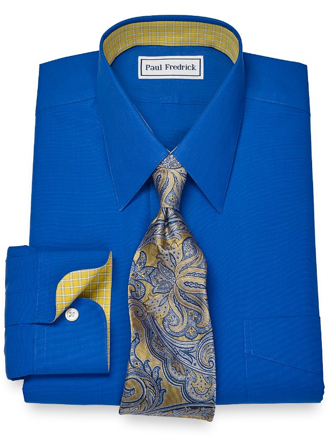 Slim Fit Non-Iron 2-Ply 100% Cotton Solid Broadcloth Straight Collar Dress Shirt