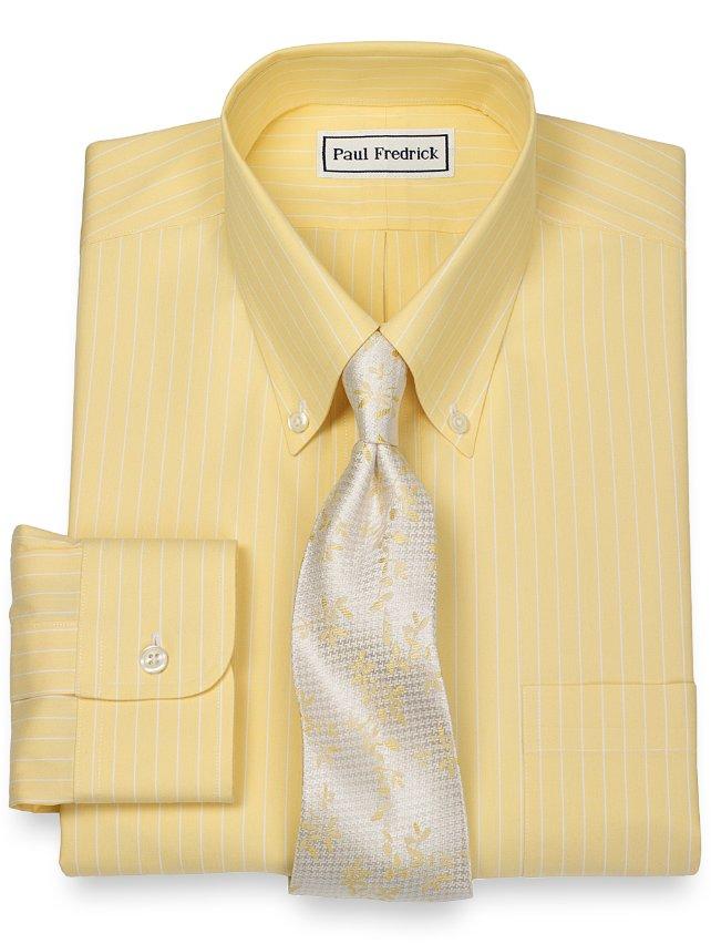 Slim Fit Non-Iron 2-Ply 100% Cotton Stripe Button Down Collar Dress Shirt
