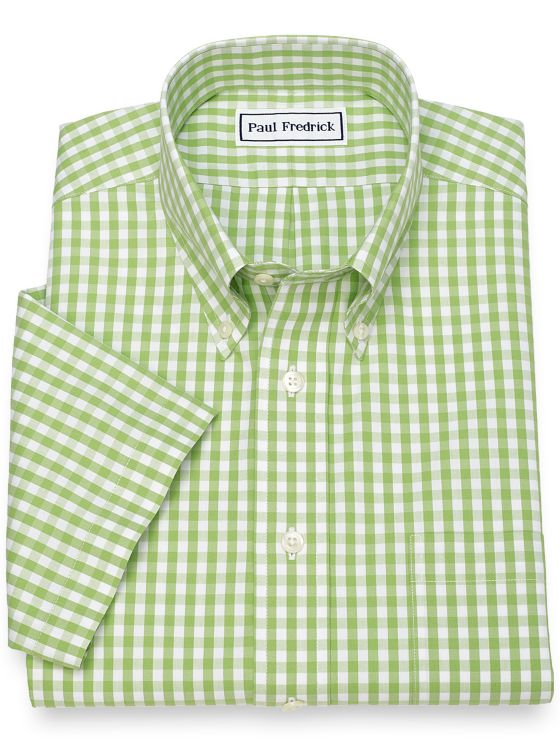 Slim Fit Non-Iron Cotton Gingham Dress Shirt