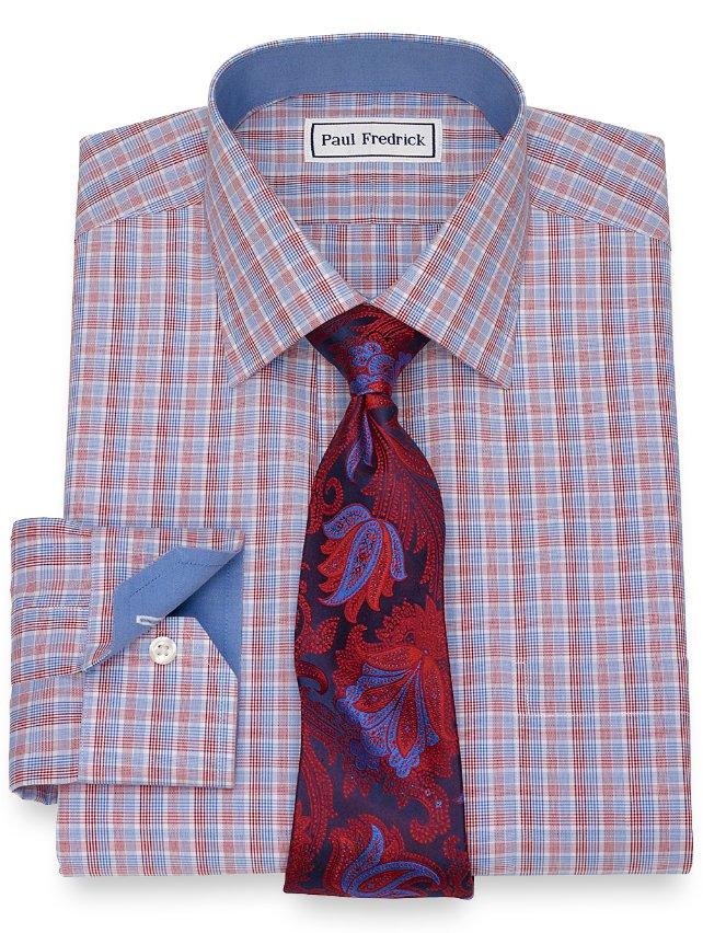 Slim Fit Non-Iron Cotton Check Dress Shirt
