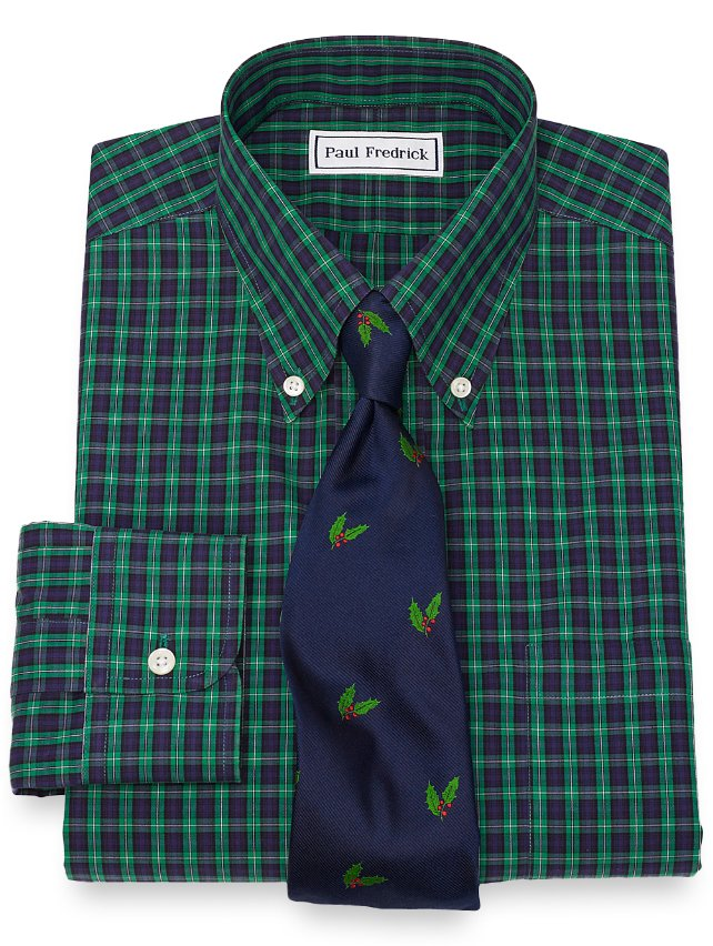 Slim Fit Non-Iron Cotton Tartan Dress Shirt
