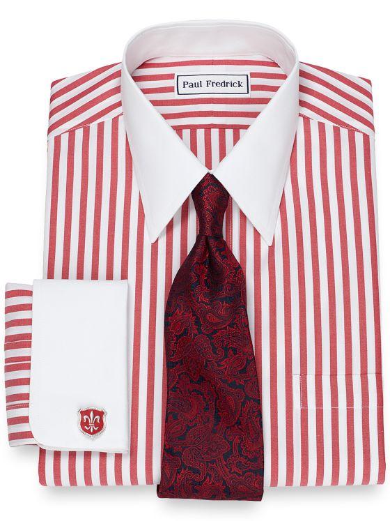 Slim Fit Non-Iron Cotton Bold Stripe Dress Shirt