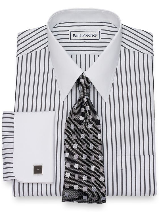 Slim Fit Non-Iron Cotton Twin Stripe Dress Shirt