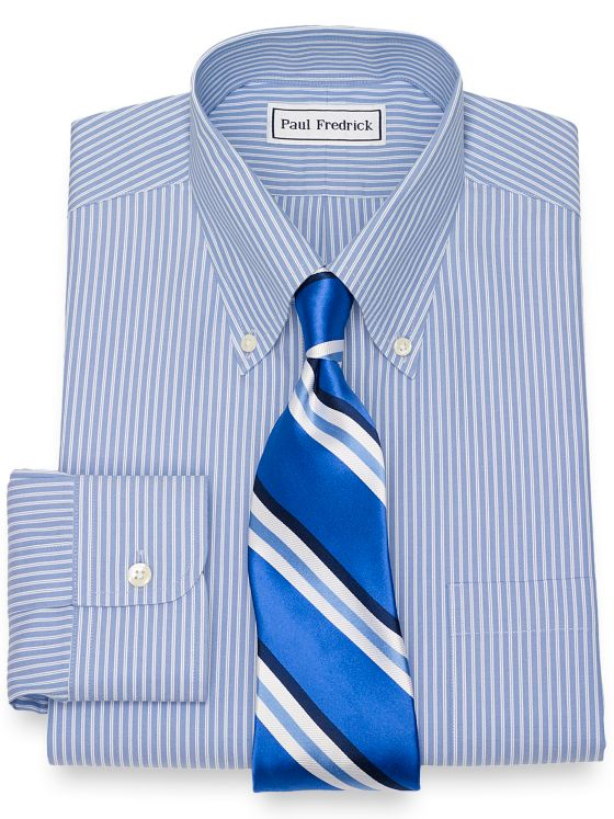 Slim Fit Non-Iron Cotton Twin Stripe Dress Shirt