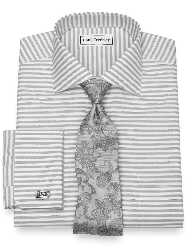 Slim Fit Non-Iron Cotton Horizontal Stripe Dress Shirt