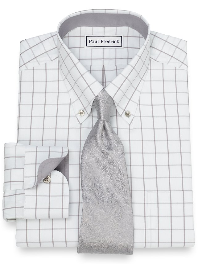 Non-Iron Cotton Grid Dress Shirt