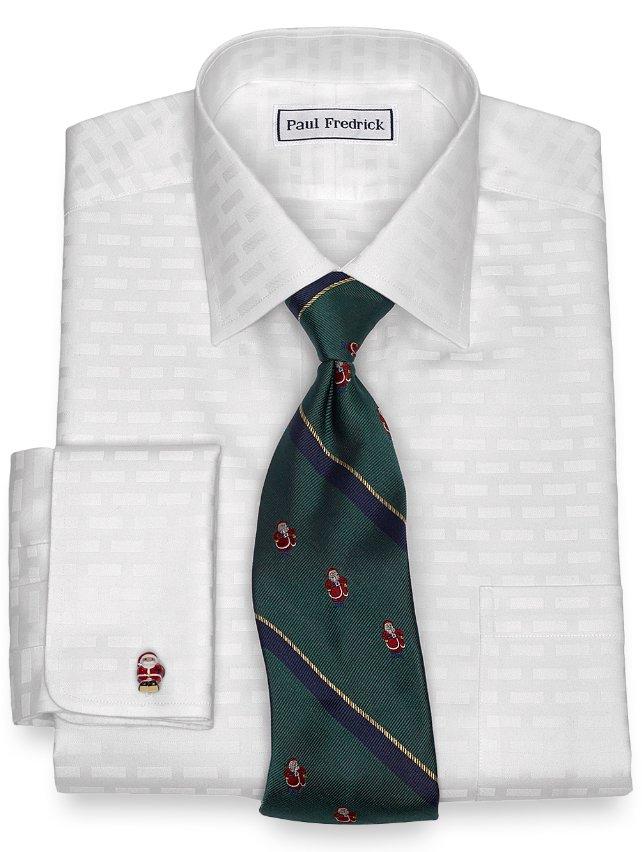 Non-Iron Cotton Brick Pattern Dress Shirt