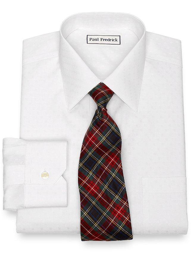 Slim Fit Non-Iron Cotton Twill Box Pattern Dress Shirt