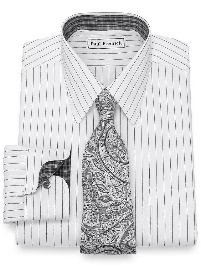 Slim Fit Non-Iron Cotton Fine Line Stripe Dress Shirt