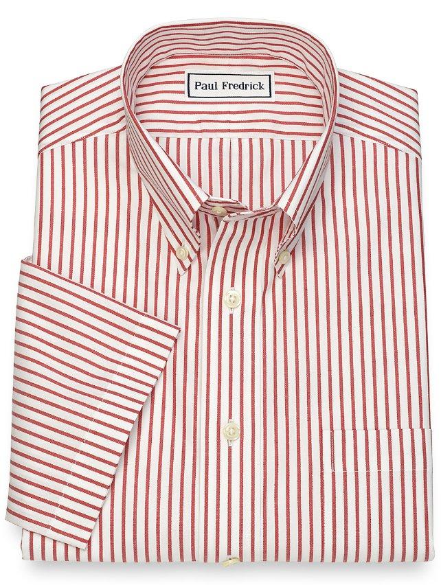 Non-Iron Cotton Stripe Short Sleeve Dress Shirt