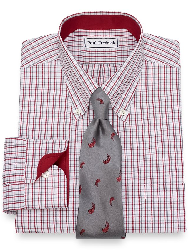 Non-Iron Cotton Tattersall Dress Shirt
