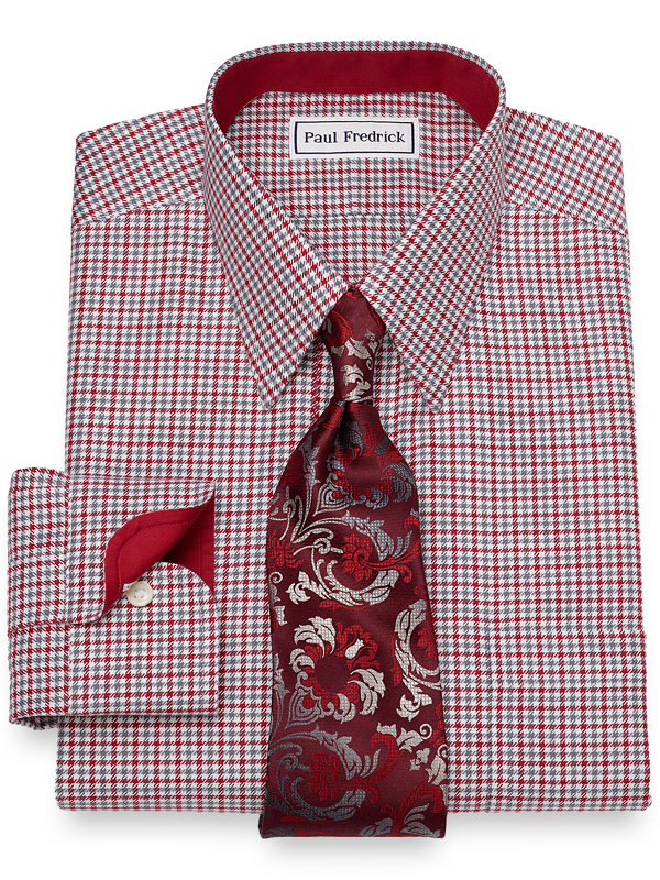 Slim Fit Non-Iron Cotton Houndstooth Dress Shirt