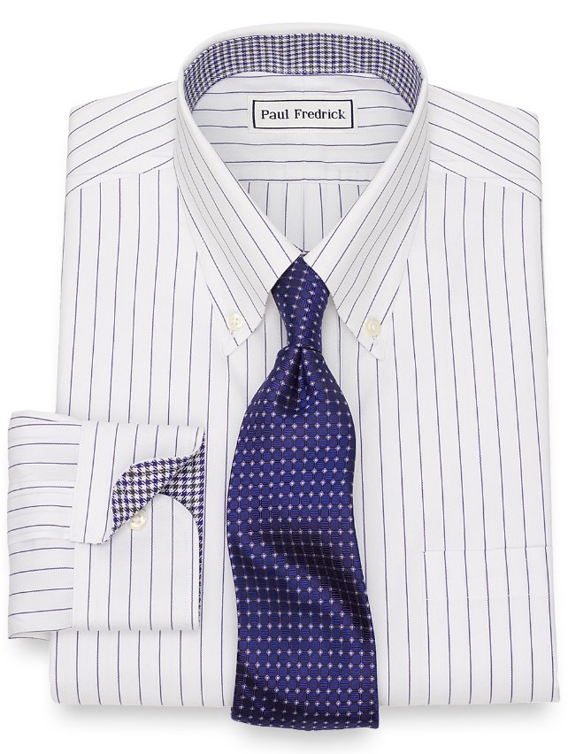 Non-Iron Cotton Fine Line Stripe Dress Shirt