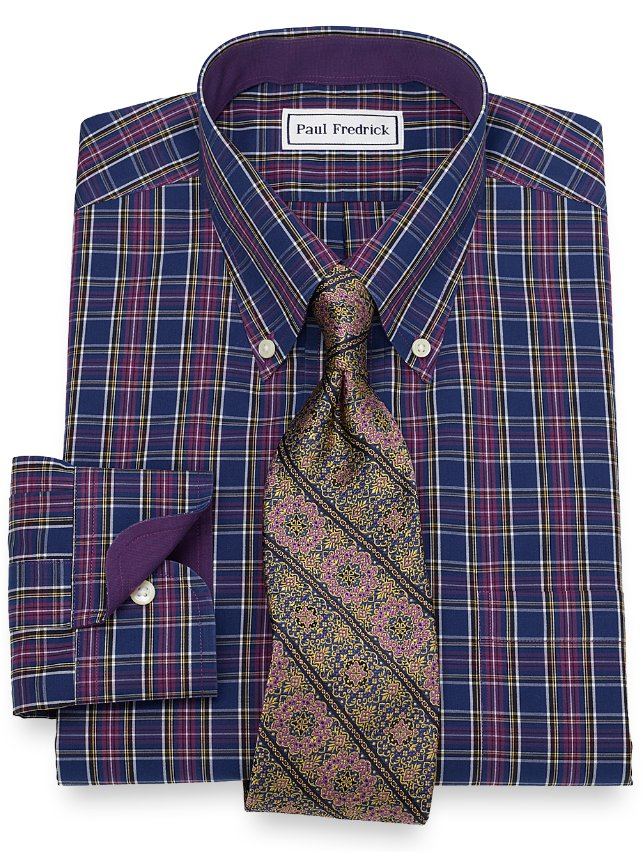 Slim Fit Non-Iron Cotton Tartan Dress Shirt