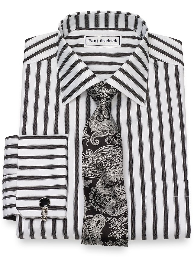 Non-Iron Cotton Twill Stripe Dress Shirt