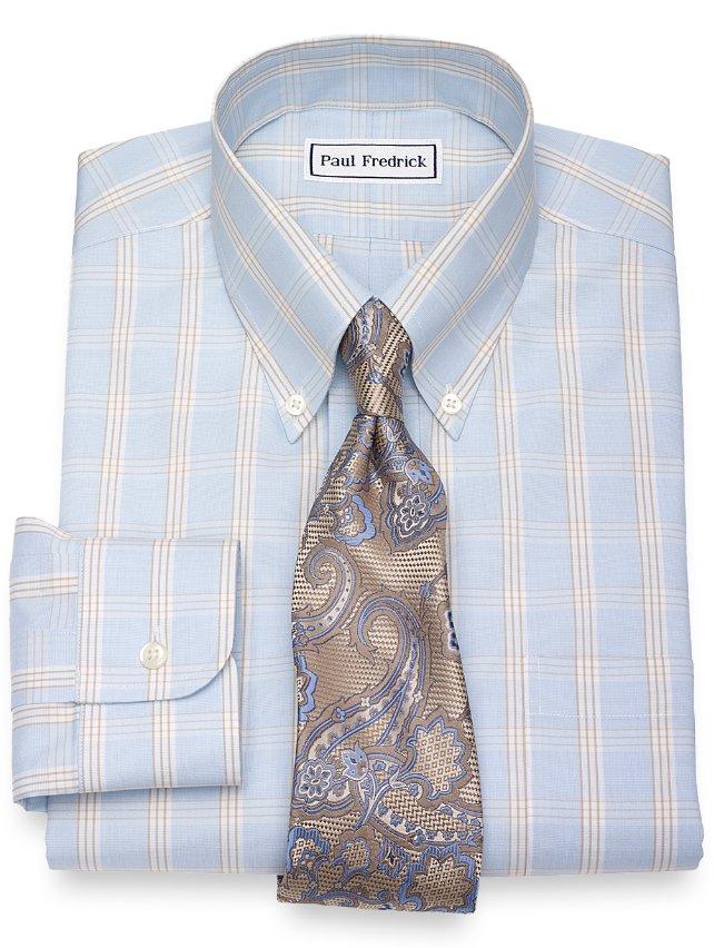 Slim Fit Non-Iron Cotton Glen Plaid Dress Shirt