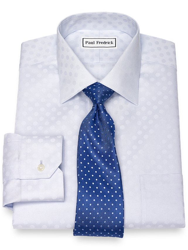 Non-Iron Cotton Dot Pattern Dress Shirt