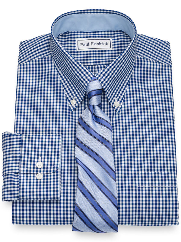 Slim Fit Non-Iron Cotton Broadcloth Gingham Dress Shirt with Contrast Trim