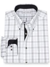 Slim Fit Non-Iron Cotton PinpointTattersall Dress Shirt with Contrast Trim