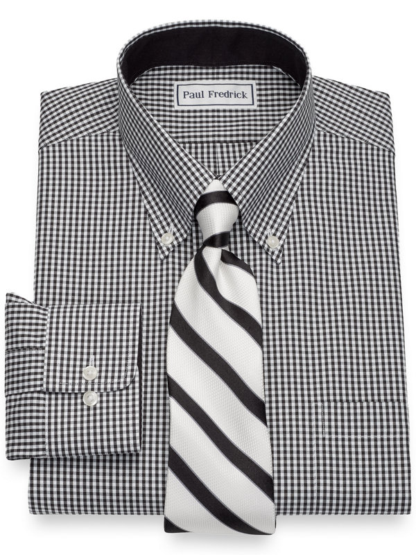 Non-Iron Cotton Pinpoint Gingham Dress Shirt