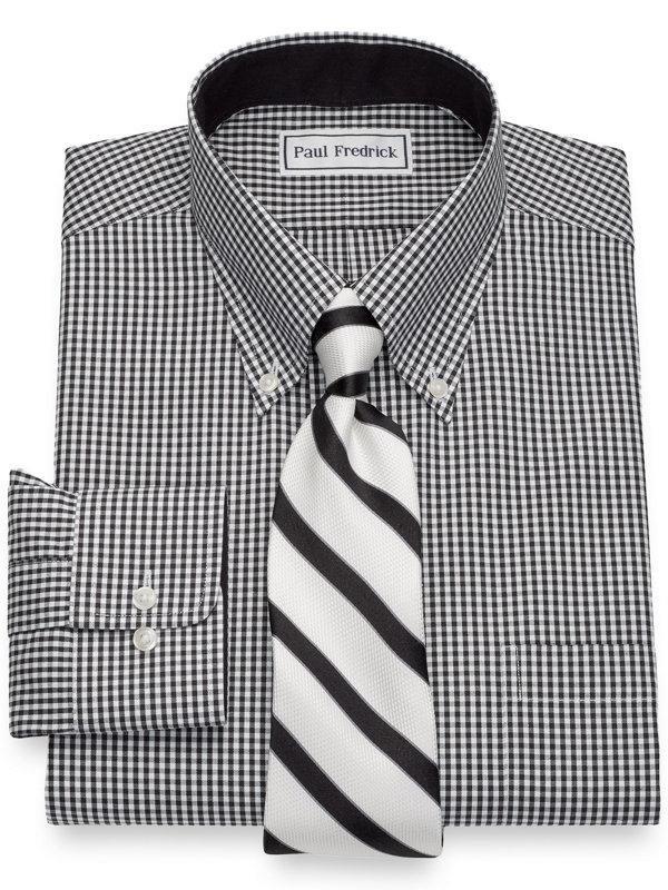 Slim Fit Non-Iron Cotton Pinpoint Gingham Dress Shirt