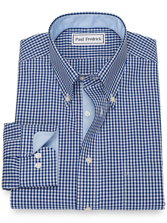 Tailored Fit Non-Iron Cotton Broadcloth Gingham Dress Shirt with Contrast Trim