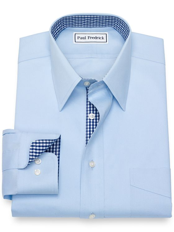 Tailored Fit Non-Iron Cotton Solid Pinpoint Dress Shirt with Contrast Trim