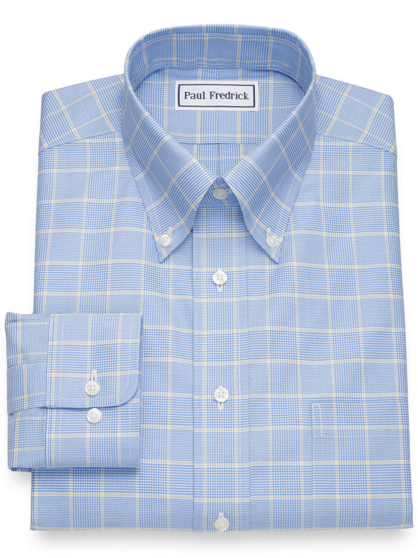 Non-Iron Cotton Broadcloth Glen Plaid Dress Shirt