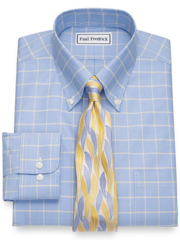 Slim Fit Non-Iron Pure Cotton Glen Plaid Dress Shirt