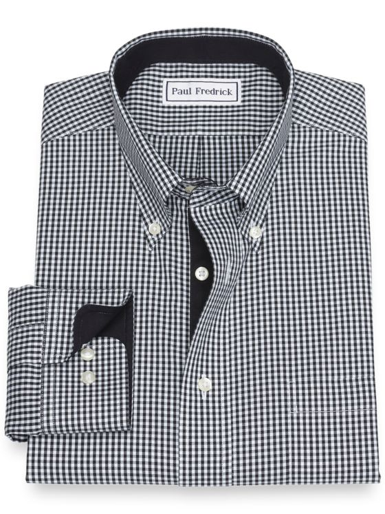 Tailored Fit Non-Iron Cotton Pinpoint Gingham Dress Shirt