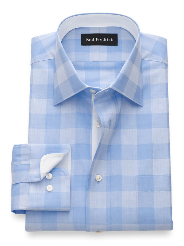 Slim Fit Pure Cotton Gingham Dress Shirt with Contrast Trim