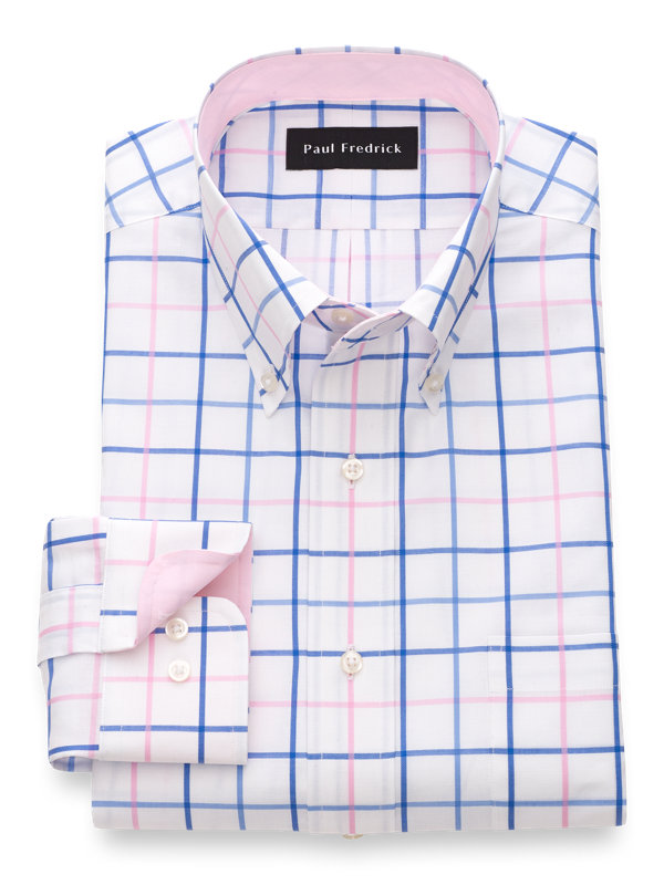 Pure Cotton Tattersall Dress Shirt with Contrast Trim