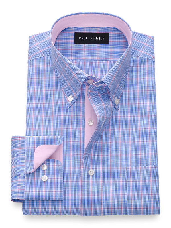 Slim Fit Pure Cotton Glen Plaid Dress Shirt with Contrast Trim