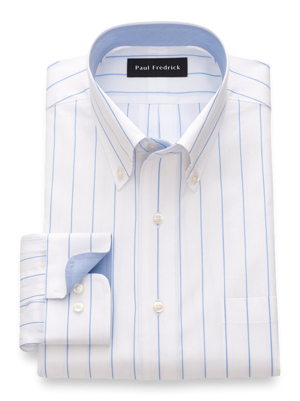 Slim Fit Pure Cotton Fine Line Stripe Dress Shirt with Contrast Trim