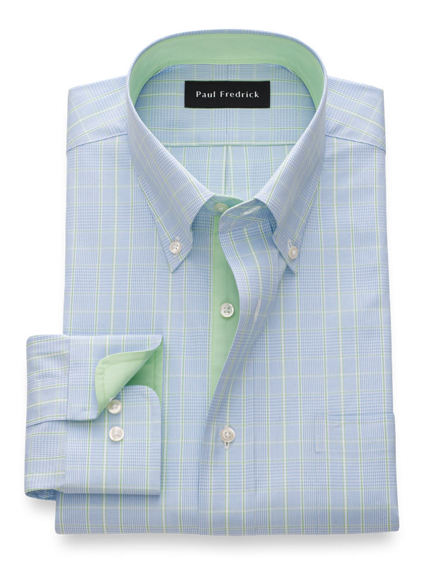 Slim Fit Pure Cotton Glen Plaid Dress Shirt with Contrast Trim