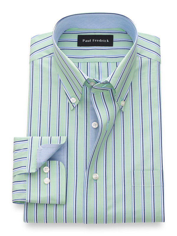 Pure Cotton Stripe Dress Shirt with Contrast Trim